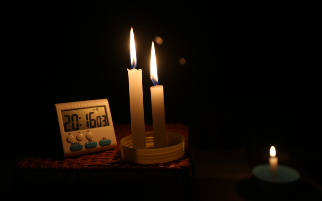 lit candles for power outage